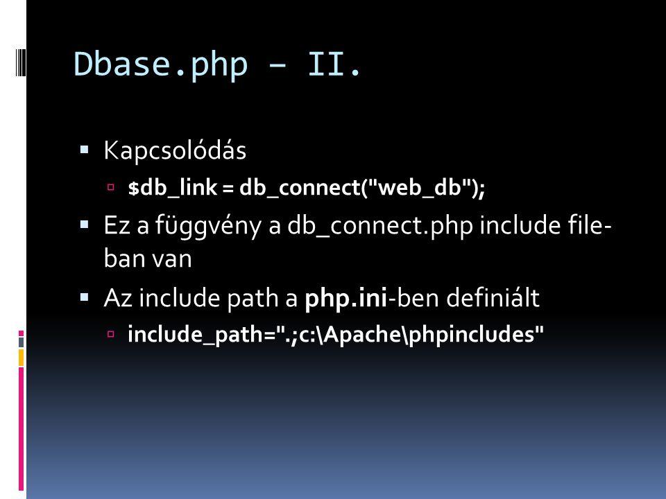 Dbase.php – II.