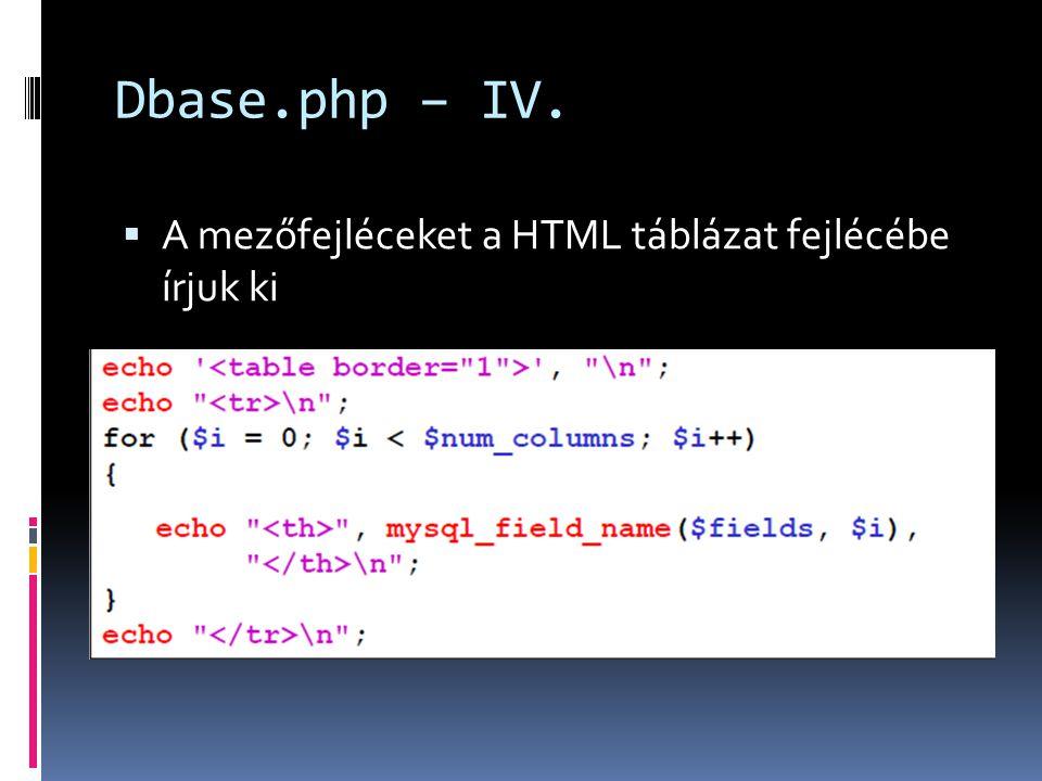 Dbase.php – IV.  A mezőfejléceket a HTML táblázat fejlécébe írjuk ki