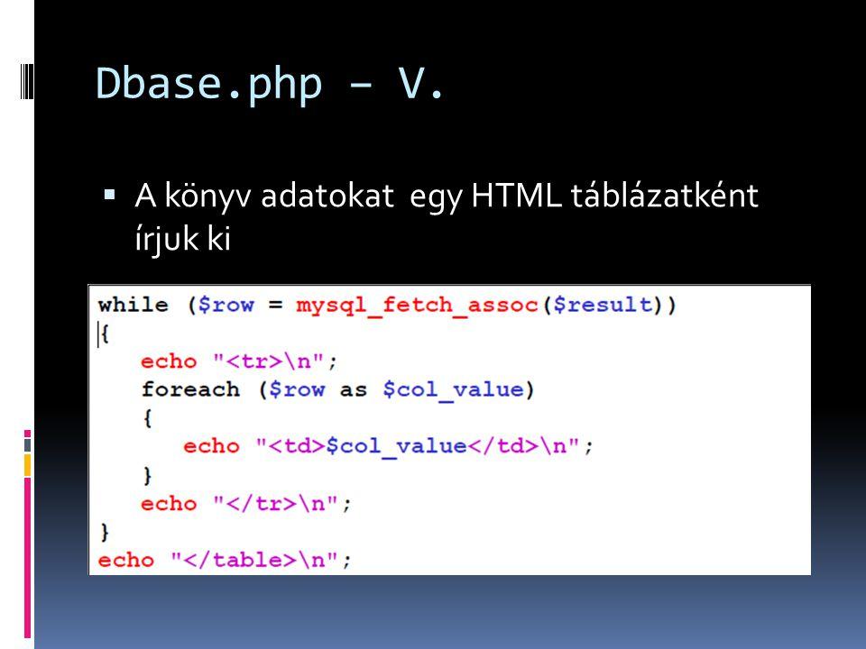 Dbase.php – V.  A könyv adatokat egy HTML táblázatként írjuk ki