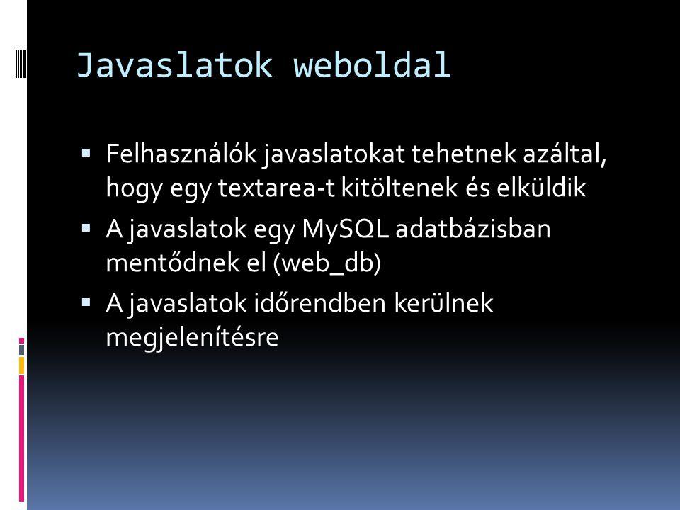 Javaslatok weboldal  Felhasználók javaslatokat tehetnek azáltal, hogy egy textarea-t kitöltenek és elküldik  A javaslatok egy MySQL adatbázisban mentődnek el (web_db)  A javaslatok időrendben kerülnek megjelenítésre