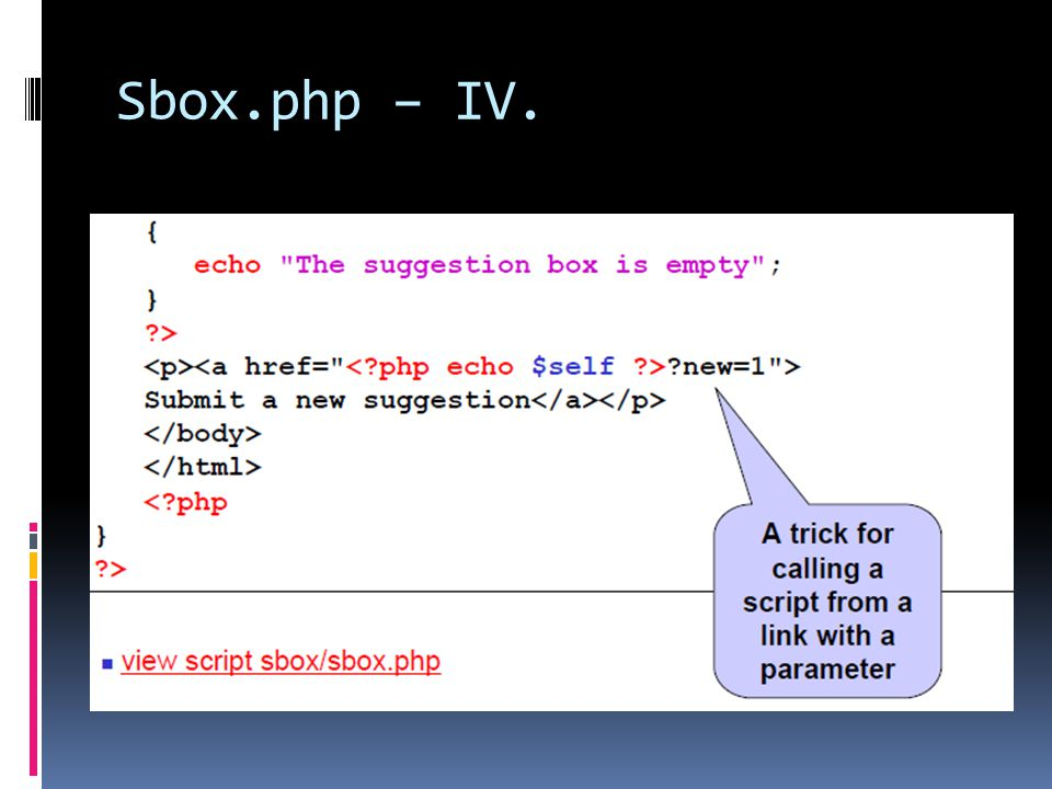 Sbox.php – IV.