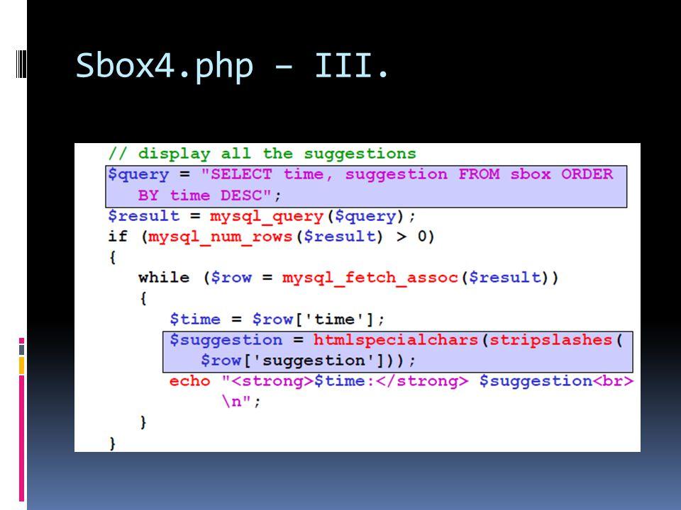 Sbox4.php – III.