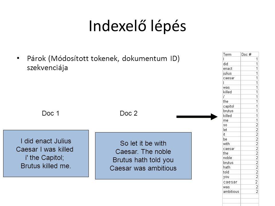 Párok (Módosított tokenek, dokumentum ID) szekvenciája I did enact Julius Caesar I was killed i the Capitol; Brutus killed me.