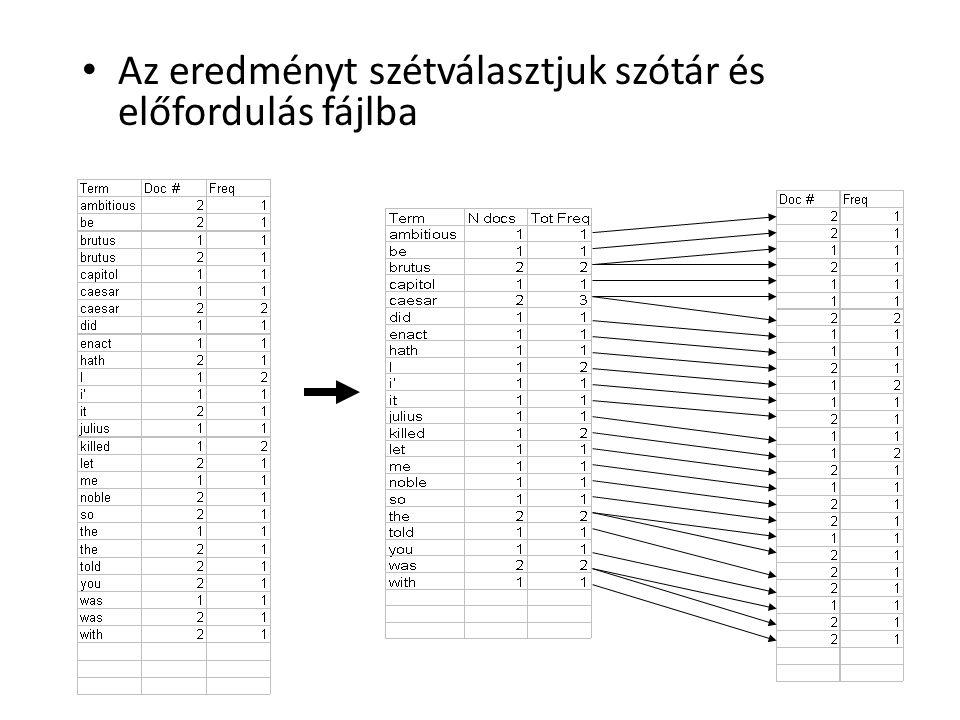 Az eredményt szétválasztjuk szótár és előfordulás fájlba