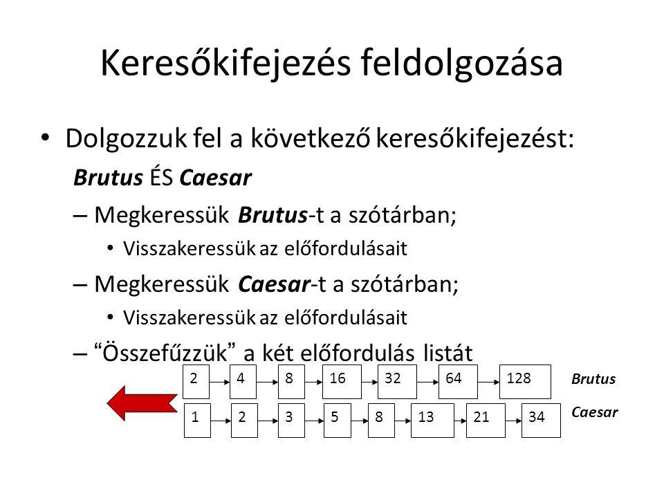 Keresőkifejezés feldolgozása Dolgozzuk fel a következő keresőkifejezést: Brutus ÉS Caesar – Megkeressük Brutus-t a szótárban; Visszakeressük az előfordulásait – Megkeressük Caesar-t a szótárban; Visszakeressük az előfordulásait – Összefűzzük a két előfordulás listát 128 34 248163264123581321 Brutus Caesar