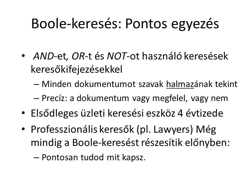 Boole-keresés: Pontos egyezés AND-et, OR-t és NOT-ot használó keresések keresőkifejezésekkel – Minden dokumentumot szavak halmazának tekint – Precíz: a dokumentum vagy megfelel, vagy nem Elsődleges üzleti keresési eszköz 4 évtizede Professzionális keresők (pl.