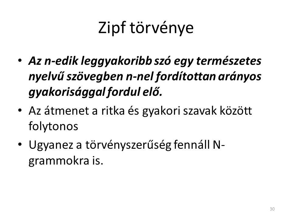 30 Zipf törvénye Az n-edik leggyakoribb szó egy természetes nyelvű szövegben n-nel fordítottan arányos gyakorisággal fordul elő.