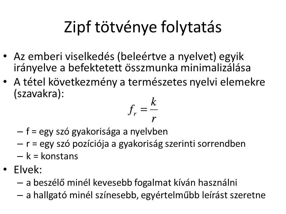 Zipf tötvénye folytatás Az emberi viselkedés (beleértve a nyelvet) egyik irányelve a befektetett összmunka minimalizálása A tétel következmény a természetes nyelvi elemekre (szavakra): – f = egy szó gyakorisága a nyelvben – r = egy szó pozíciója a gyakoriság szerinti sorrendben – k = konstans Elvek: – a beszélő minél kevesebb fogalmat kíván használni – a hallgató minél színesebb, egyértelműbb leírást szeretne