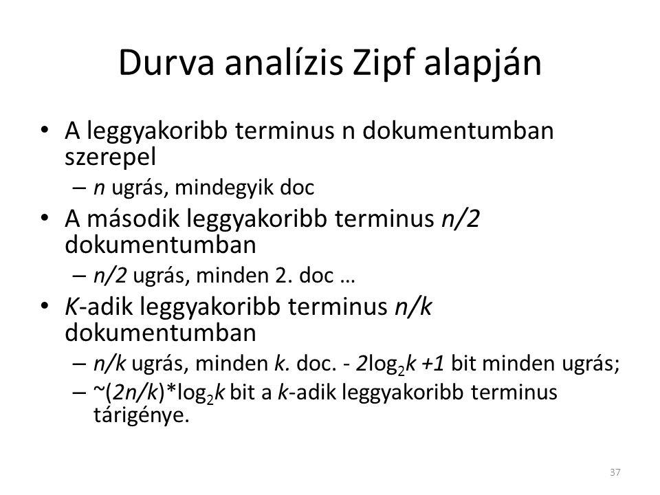 37 Durva analízis Zipf alapján A leggyakoribb terminus n dokumentumban szerepel – n ugrás, mindegyik doc A második leggyakoribb terminus n/2 dokumentumban – n/2 ugrás, minden 2.