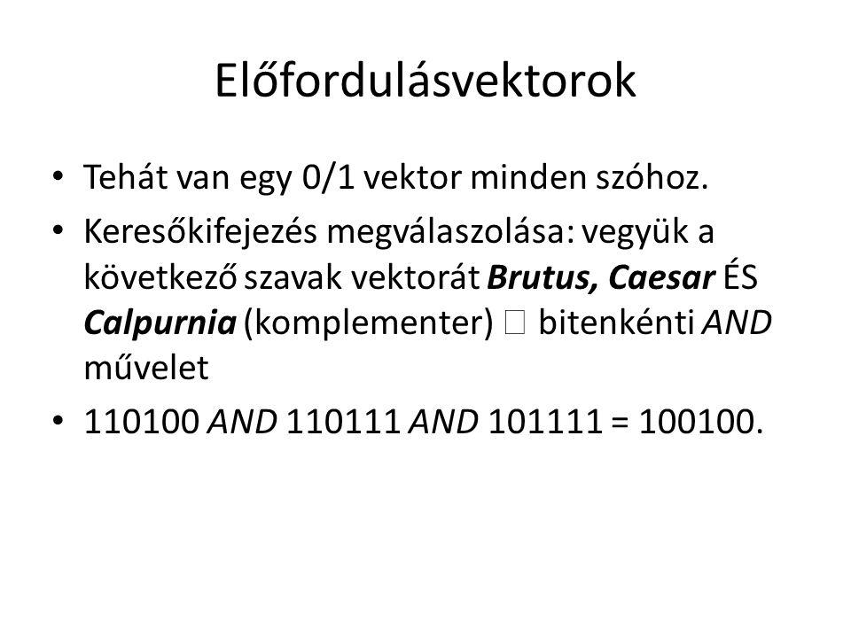 Előfordulásvektorok Tehát van egy 0/1 vektor minden szóhoz.