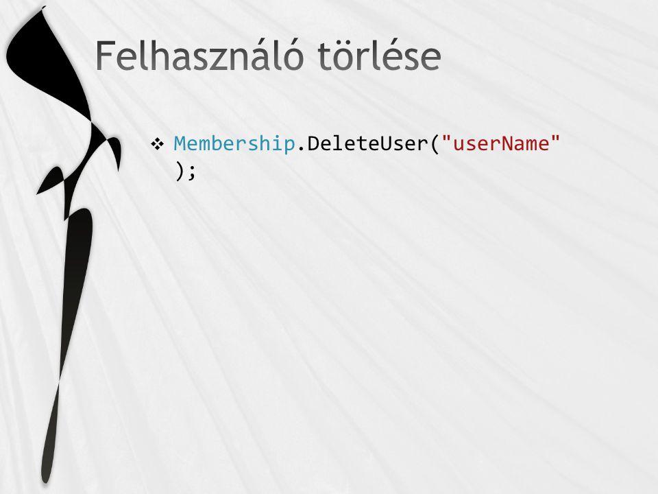 Membership.DeleteUser( userName );