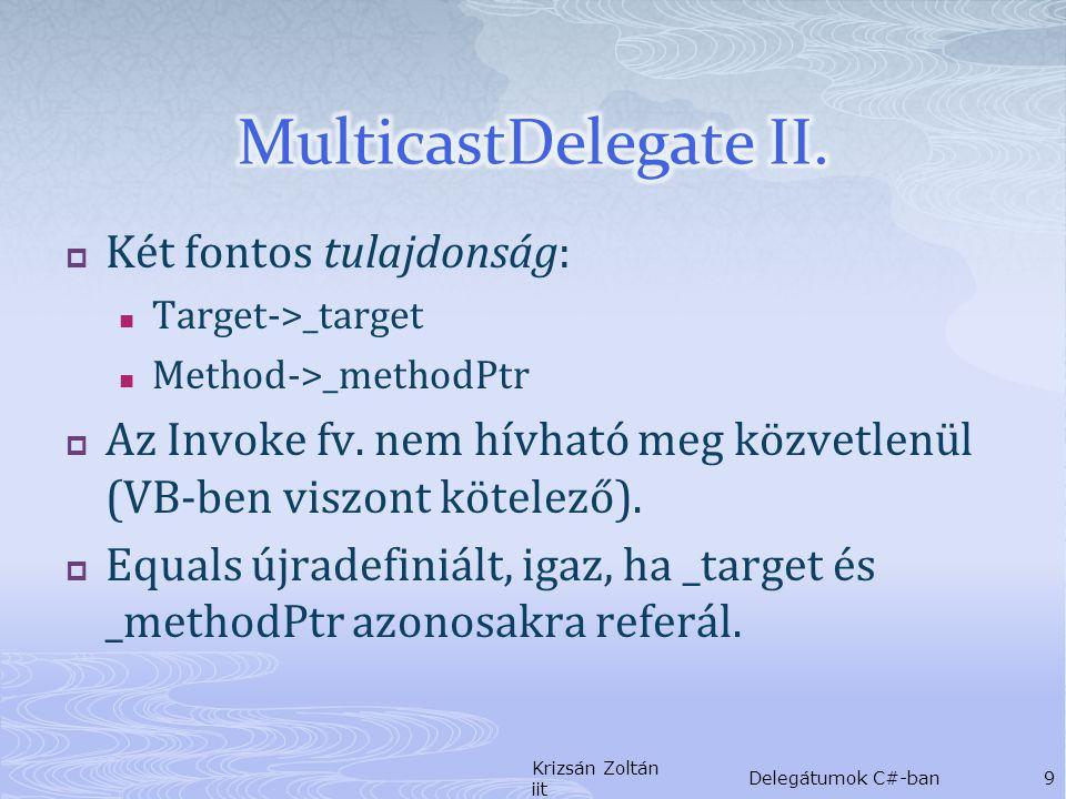 delegate string GetStatus(); static public void Main() { GetStatus getstatus = null; getstatus += new GetStatus( new Light().GetPosition ); getstatus += new GetStatus( new Fan().Speed ); getstatus += new GetStatus( new Speaker().Volume ); Console.WriteLine( GetComponentStatusReport(getstatus) ); } Krizsán Zoltán iit Delegátumok C#-ban20