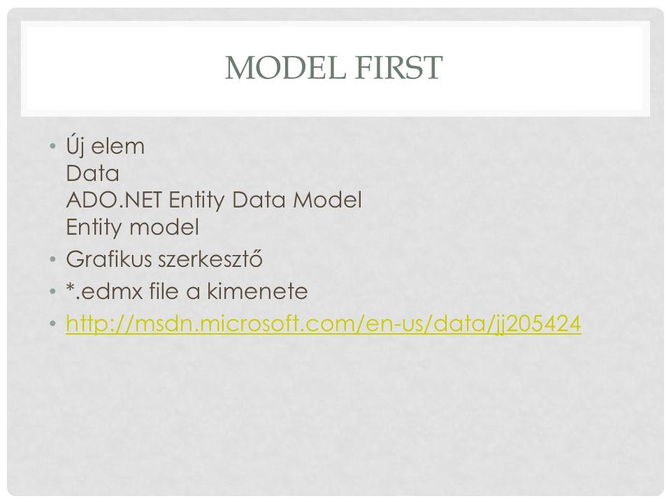 MODEL FIRST Új elem Data ADO.NET Entity Data Model Entity model Grafikus szerkesztő *.edmx file a kimenete http://msdn.microsoft.com/en-us/data/jj2054