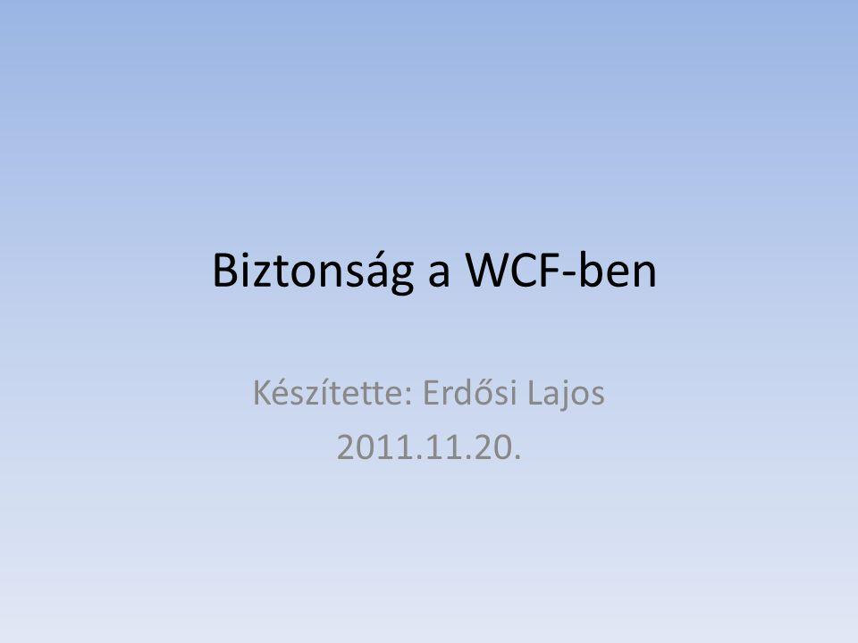 Biztonság a WCF-ben Készítette: Erdősi Lajos 2011.11.20.