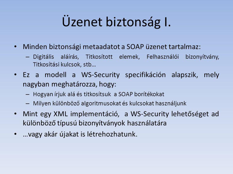 Üzenet biztonság I. Minden biztonsági metaadatot a SOAP üzenet tartalmaz: – Digitális aláírás, Titkosított elemek, Felhasználói bizonyítvány, Titkosít
