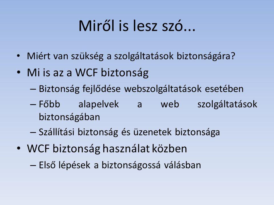 Miről is lesz szó... Miért van szükség a szolgáltatások biztonságára? Mi is az a WCF biztonság – Biztonság fejlődése webszolgáltatások esetében – Főbb