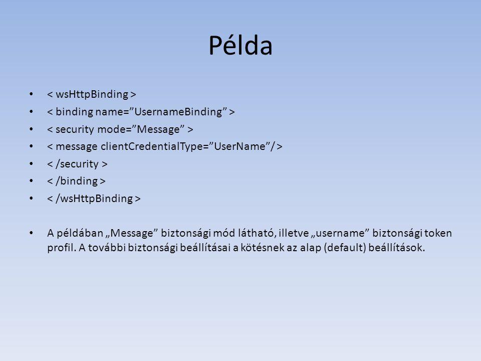 """Példa A példában """"Message"""" biztonsági mód látható, illetve """"username"""" biztonsági token profil. A további biztonsági beállításai a kötésnek az alap (de"""