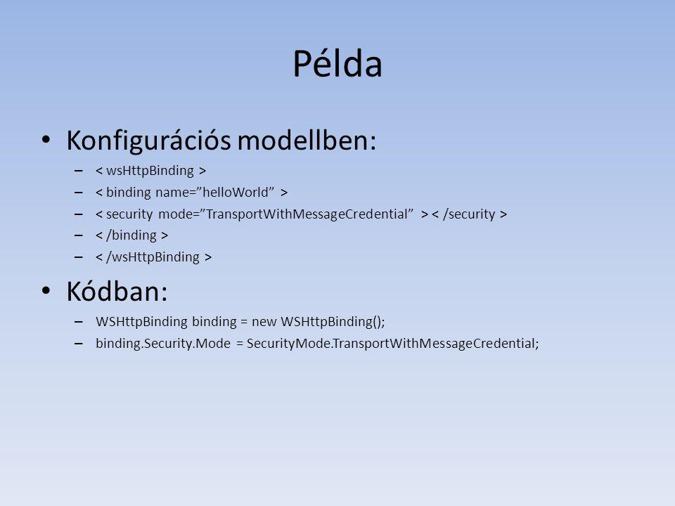 Példa Konfigurációs modellben: – Kódban: – WSHttpBinding binding = new WSHttpBinding(); – binding.Security.Mode = SecurityMode.TransportWithMessageCre