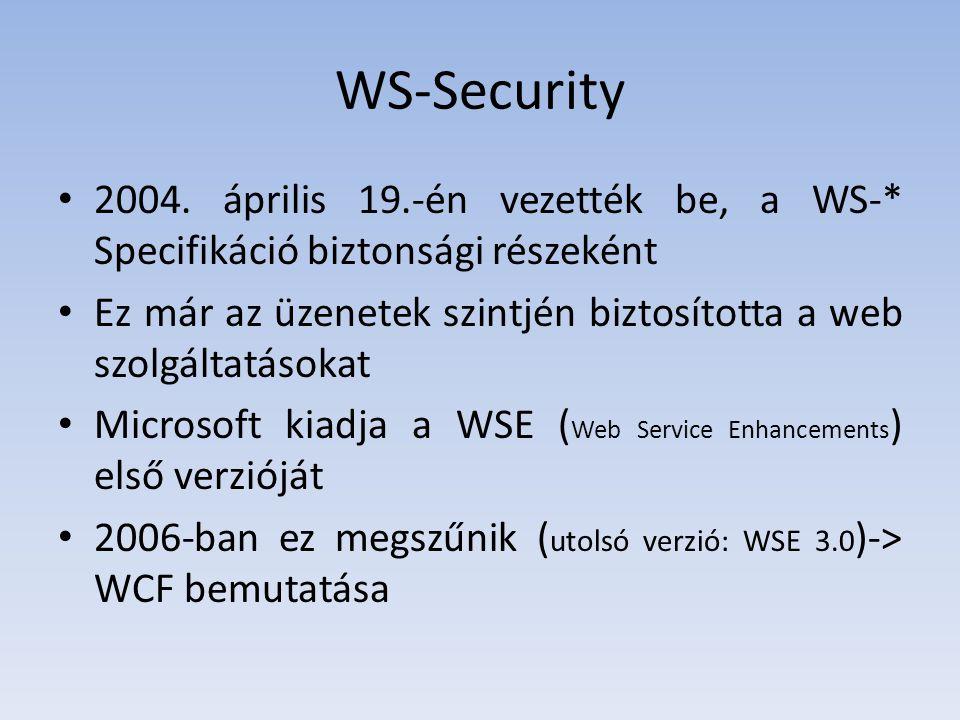 Példa Konfigurációs modellben: – Kódban: – WSHttpBinding binding = new WSHttpBinding(); – binding.Security.Mode = SecurityMode.TransportWithMessageCredential;