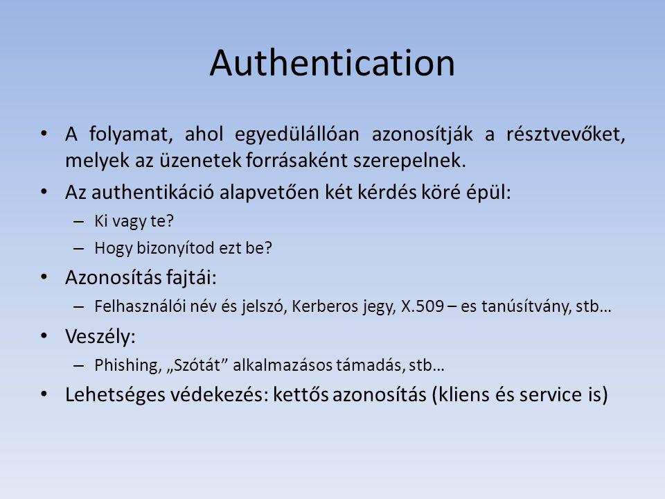 Authentication A folyamat, ahol egyedülállóan azonosítják a résztvevőket, melyek az üzenetek forrásaként szerepelnek. Az authentikáció alapvetően két
