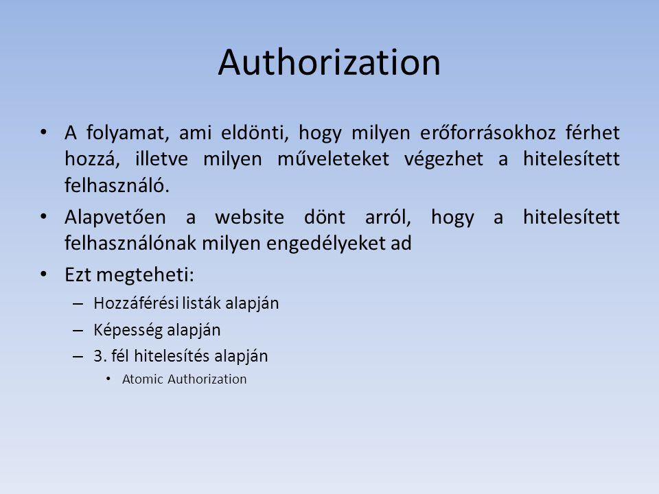 Authorization A folyamat, ami eldönti, hogy milyen erőforrásokhoz férhet hozzá, illetve milyen műveleteket végezhet a hitelesített felhasználó. Alapve