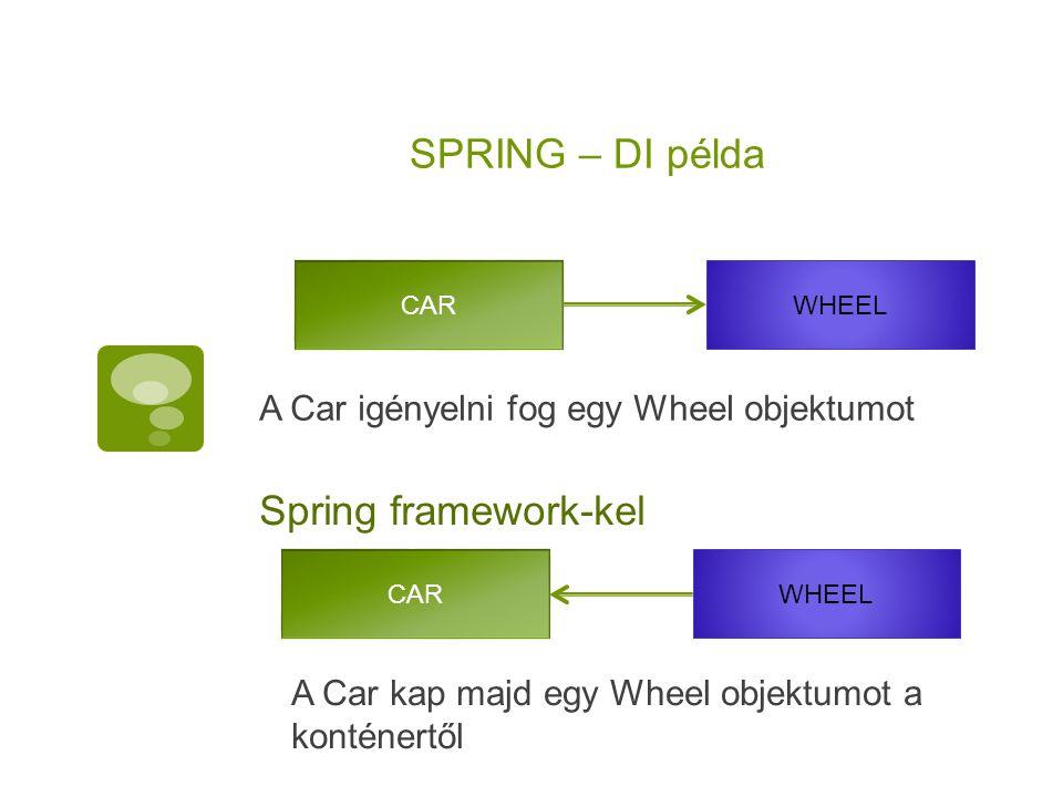 SPRING – DI példa A Car igényelni fog egy Wheel objektumot CAR WHEEL Spring framework-kel CAR WHEEL A Car kap majd egy Wheel objektumot a konténertől