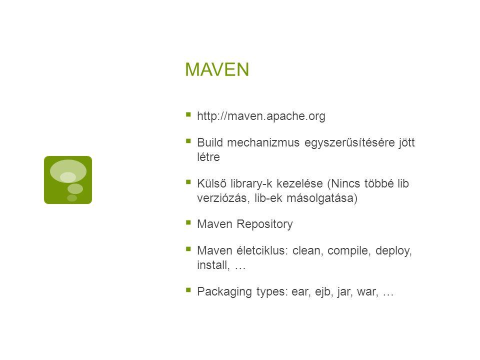 MAVEN  http://maven.apache.org  Build mechanizmus egyszerűsítésére jött létre  Külső library-k kezelése (Nincs többé lib verziózás, lib-ek másolgat