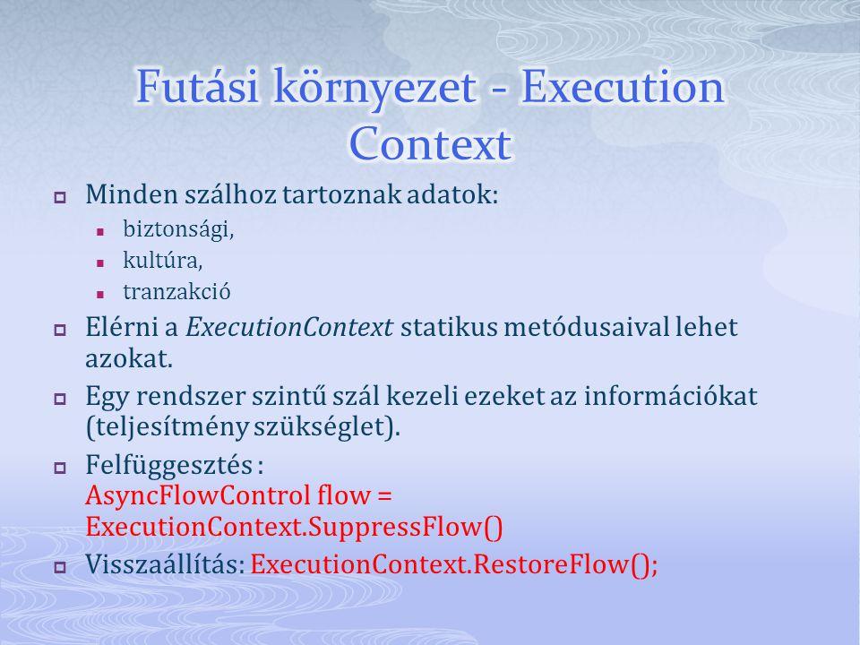  Minden szálhoz tartoznak adatok: biztonsági, kultúra, tranzakció  Elérni a ExecutionContext statikus metódusaival lehet azokat.