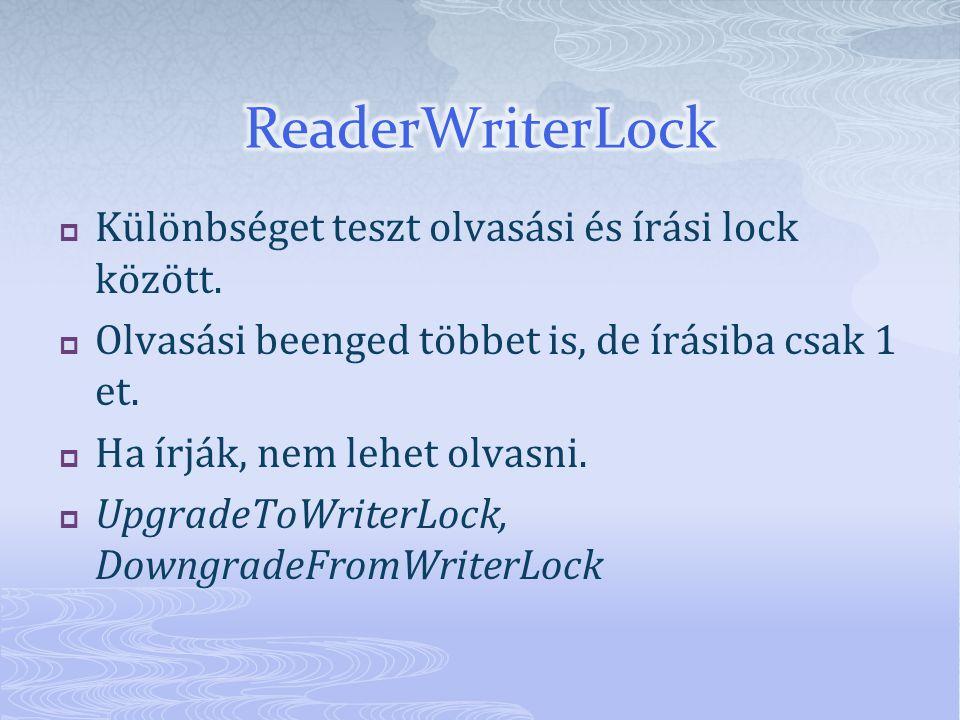  Különbséget teszt olvasási és írási lock között.