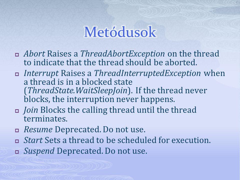 Deadlocker deadlock = new Deadlocker(); ThreadStart firstStart = new ThreadStart(deadlock.First); ThreadStart secondStart = new ThreadStart(deadlock.Second); Thread first = new Thread(firstStart); Thread second = new Thread(secondStart); first.Start(); second.Start(); first.Join(); second.Join();