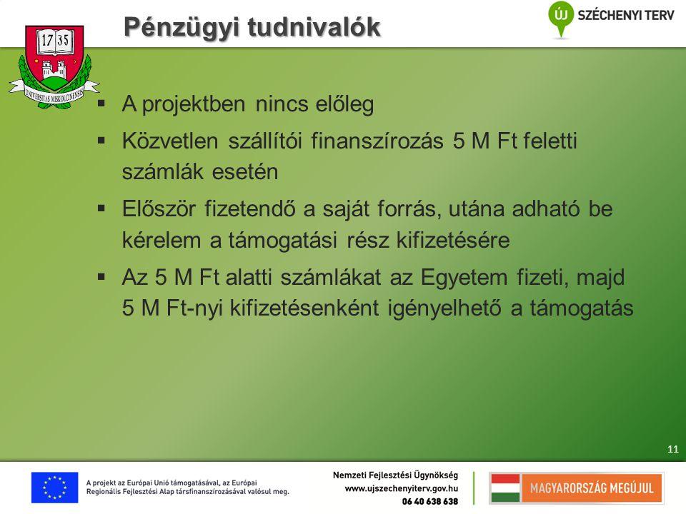 Pénzügyi tudnivalók  A projektben nincs előleg  Közvetlen szállítói finanszírozás 5 M Ft feletti számlák esetén  Először fizetendő a saját forrás,