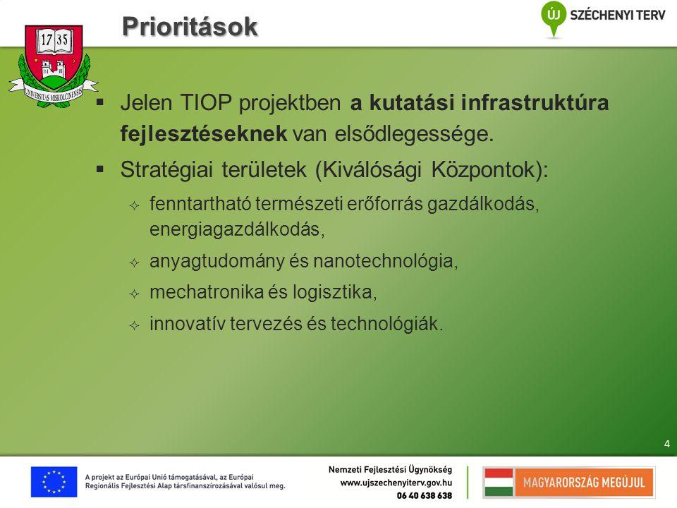 Prioritások  Jelen TIOP projektben a kutatási infrastruktúra fejlesztéseknek van elsődlegessége.  Stratégiai területek (Kiválósági Központok):  fen