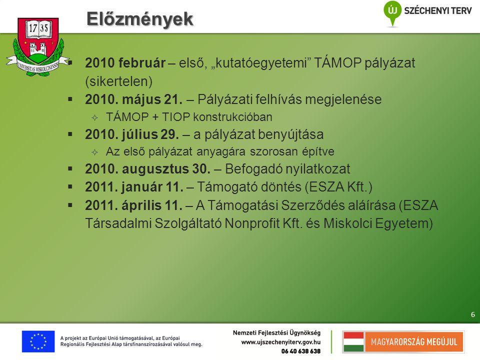"""Előzmények  2010 február – első, """"kutatóegyetemi"""" TÁMOP pályázat (sikertelen)  2010. május 21. – Pályázati felhívás megjelenése  TÁMOP + TIOP konst"""