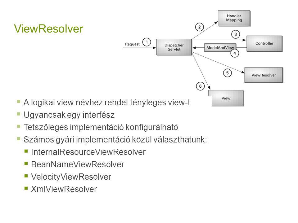 ViewResolver  A logikai view névhez rendel tényleges view-t  Ugyancsak egy interfész  Tetszőleges implementáció konfigurálható  Számos gyári imple