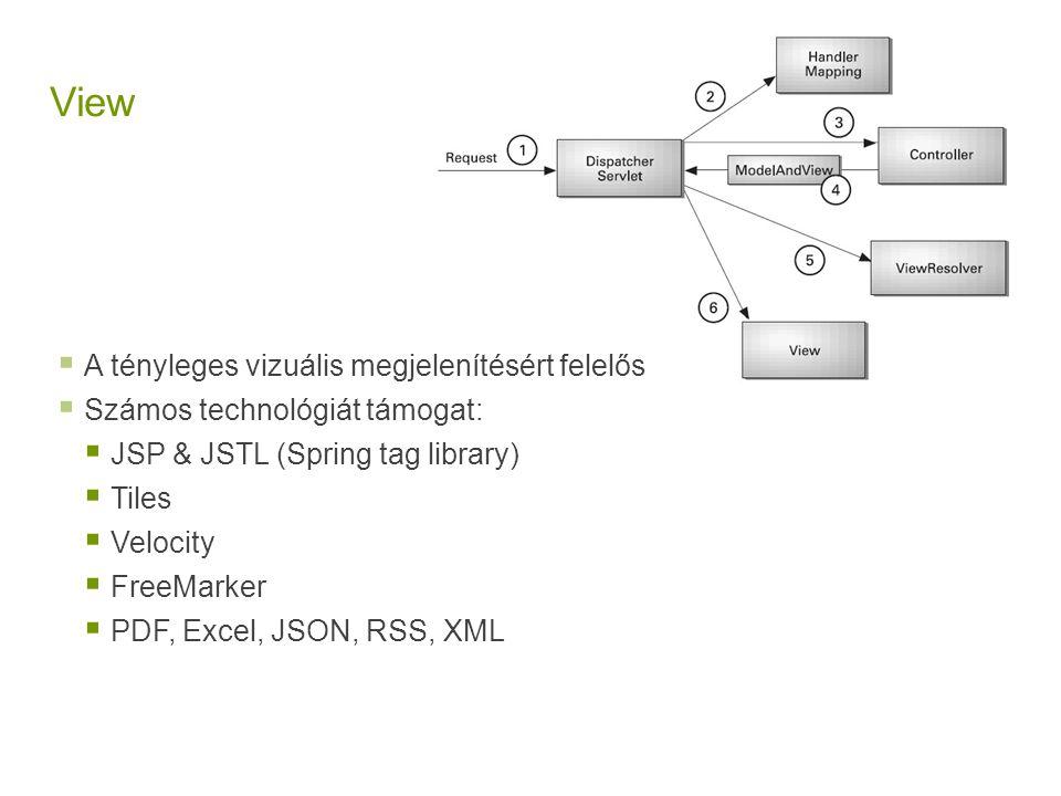 View  A tényleges vizuális megjelenítésért felelős  Számos technológiát támogat:  JSP & JSTL (Spring tag library)  Tiles  Velocity  FreeMarker 