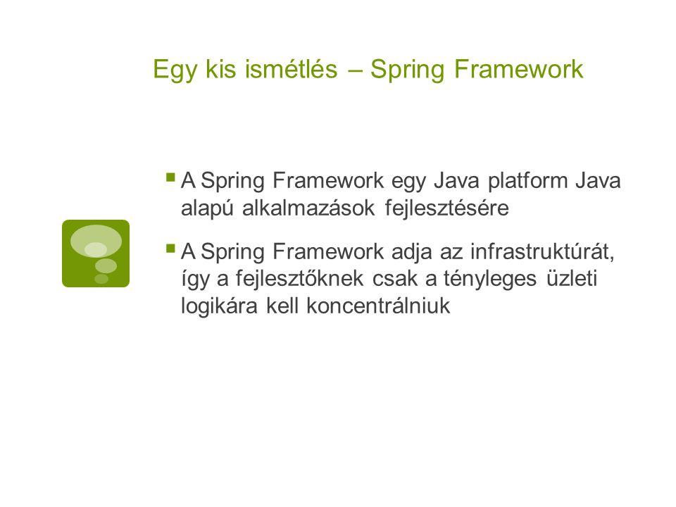 Egy kis ismétlés – Spring Framework  A Spring Framework egy Java platform Java alapú alkalmazások fejlesztésére  A Spring Framework adja az infrastr