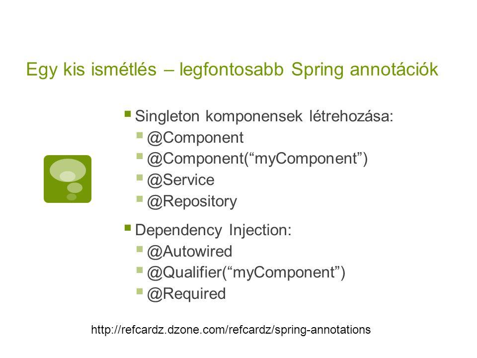 """Egy kis ismétlés – legfontosabb Spring annotációk  Singleton komponensek létrehozása:  @Component  @Component(""""myComponent"""")  @Service  @Reposito"""