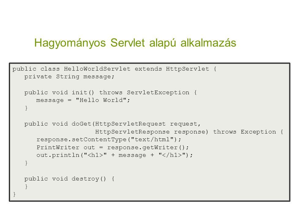 Hagyományos Servlet alapú alkalmazás public class HelloWorldServlet extends HttpServlet { private String message; public void init() throws ServletExc