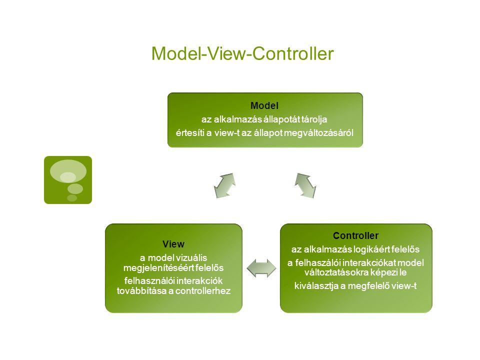 Model-View-Controller Model az alkalmazás állapotát tárolja értesíti a view-t az állapot megváltozásáról Controller az alkalmazás logikáért felelős a