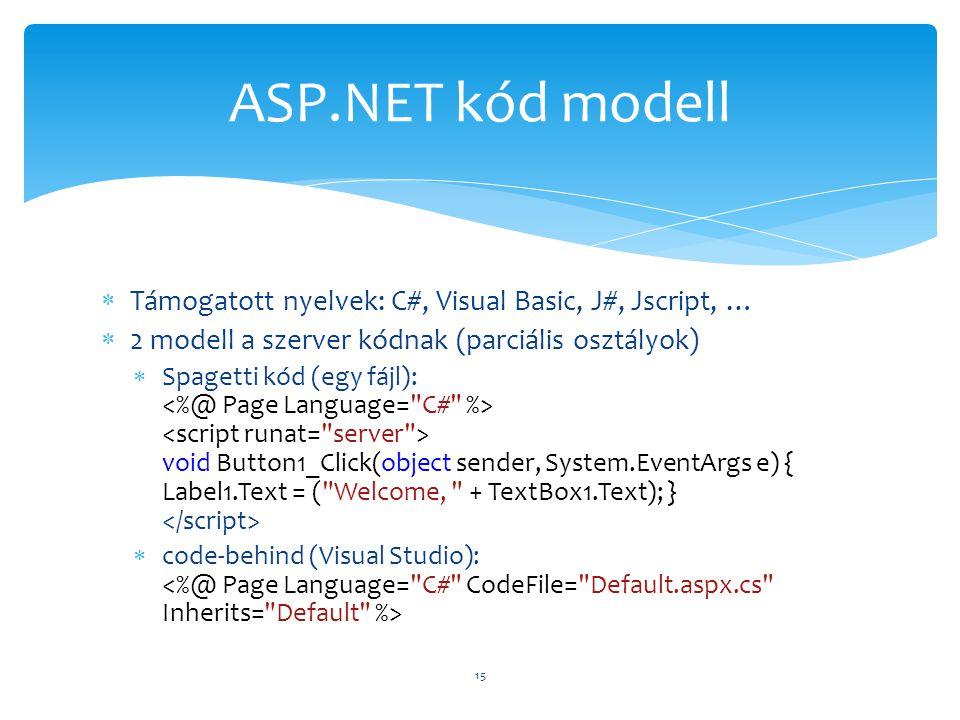  Támogatott nyelvek: C#, Visual Basic, J#, Jscript, …  2 modell a szerver kódnak (parciális osztályok)  Spagetti kód (egy fájl): void Button1_Click(object sender, System.EventArgs e) { Label1.Text = ( Welcome, + TextBox1.Text); }  code-behind (Visual Studio): 15 ASP.NET kód modell