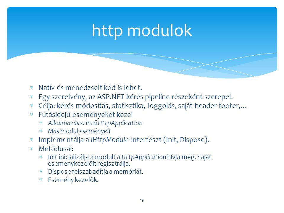  Natív és menedzselt kód is lehet.  Egy szerelvény, az ASP.NET kérés pipeline részeként szerepel.  Célja: kérés módosítás, statisztika, loggolás, s