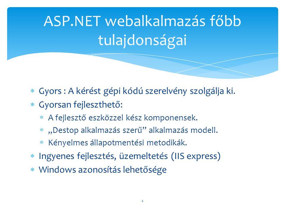  Page framework inicializálás  Felhasználói inicializálás  Adatok ellenőrzése  Esemény kezelés  Adatkötés (Binding)  Takarítás 13 ASP.NET feldolgozásának fő fázisai