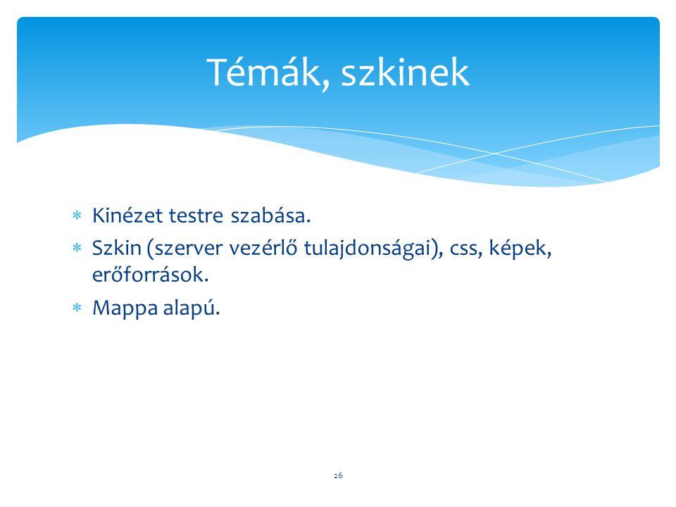  Kinézet testre szabása.  Szkin (szerver vezérlő tulajdonságai), css, képek, erőforrások.  Mappa alapú. 26 Témák, szkinek