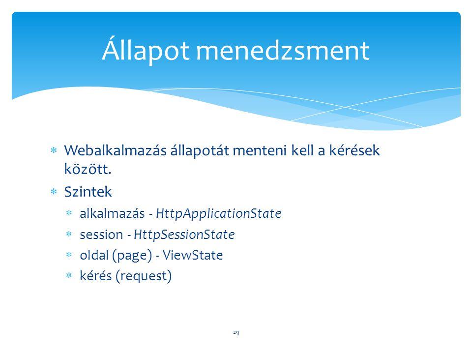  Webalkalmazás állapotát menteni kell a kérések között.  Szintek  alkalmazás - HttpApplicationState  session - HttpSessionState  oldal (page) - V