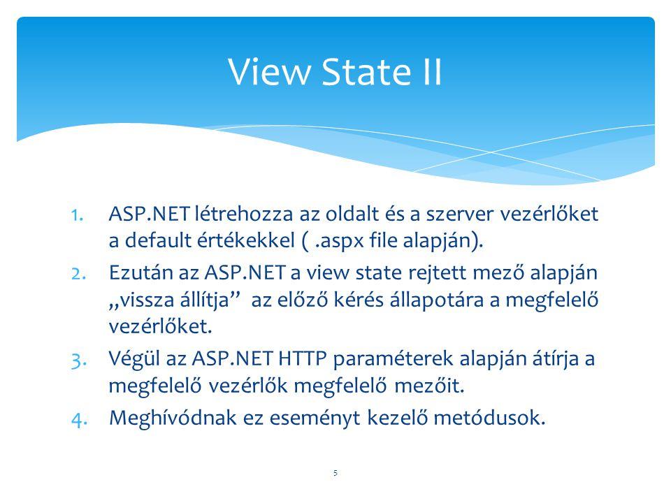 1.ASP.NET létrehozza az oldalt és a szerver vezérlőket a default értékekkel (.aspx file alapján). 2.Ezután az ASP.NET a view state rejtett mező alapjá