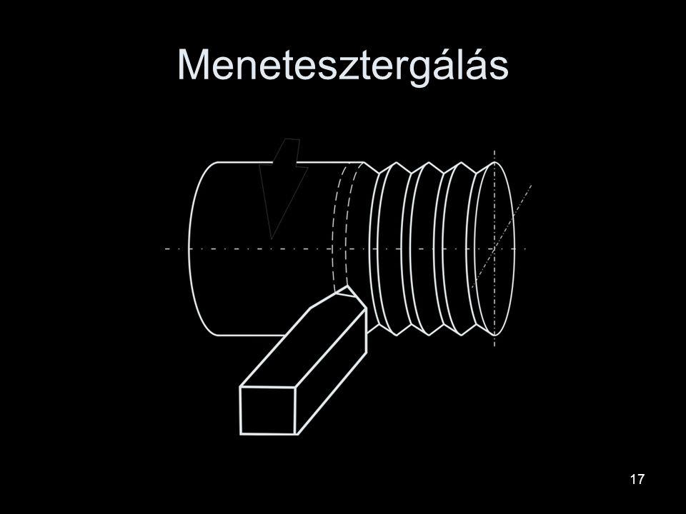 Furatesztergálás Az előfúrt furatot nagyobb átmérőre esztergálja. Szerszáma: lyukkés, fúrórúd Belső hengeres felületek esztergálással történő megmunká