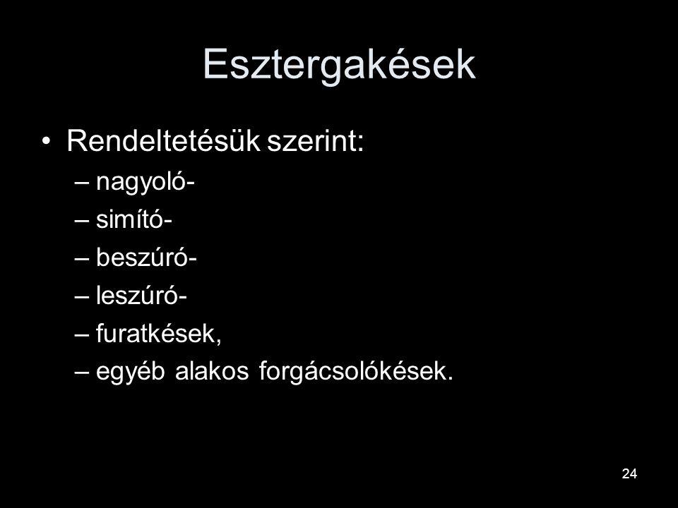 Esztergakések Élgeometria szerint: –Sokféle lehet főként beszúrás esetén –Pl. alakos Hasábos kés Körkés stb. 23