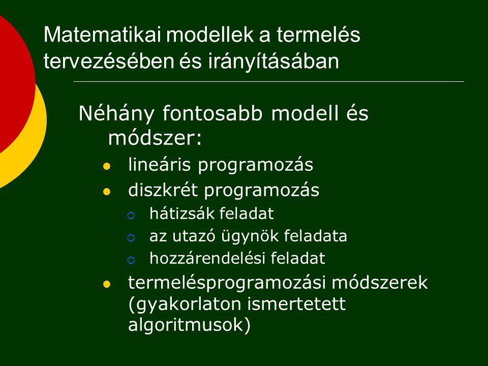 Lineáris programozás Alkalmazási példák: Egy gyár bizonyos időszakra szóló termelési feladatának meghatározása Technológiai folyamat-alternatívák kiválasztása Matematikai alapmodell: x j változók (valós számok), c j, b j, a ij konstansok (valós számok), n, m konstansok (természetes számok)