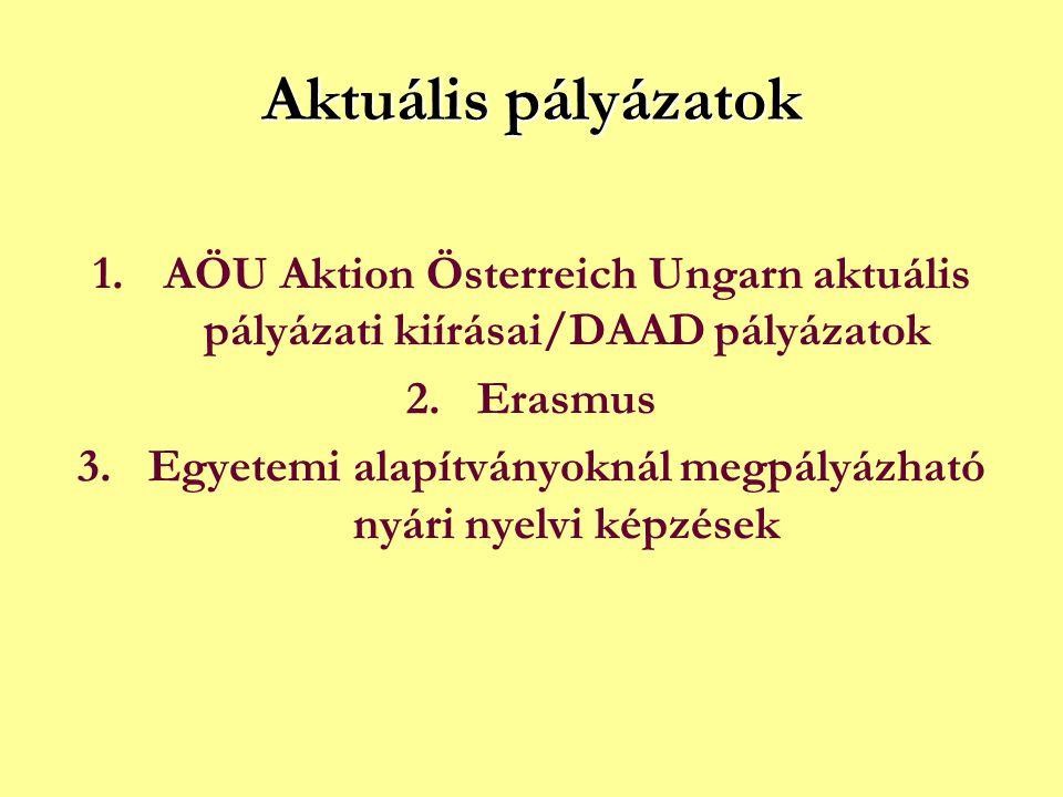 Aktuális pályázatok 1.AÖU Aktion Österreich Ungarn aktuális pályázati kiírásai/DAAD pályázatok 2.Erasmus 3.Egyetemi alapítványoknál megpályázható nyári nyelvi képzések