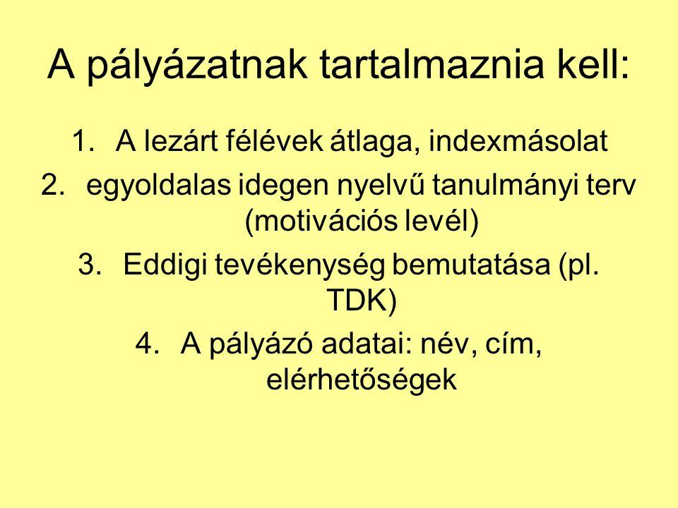 A pályázatnak tartalmaznia kell: 1.A lezárt félévek átlaga, indexmásolat 2.egyoldalas idegen nyelvű tanulmányi terv (motivációs levél) 3.Eddigi tevékenység bemutatása (pl.